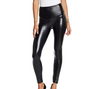 Love, fire faux leather black stretch leggings.